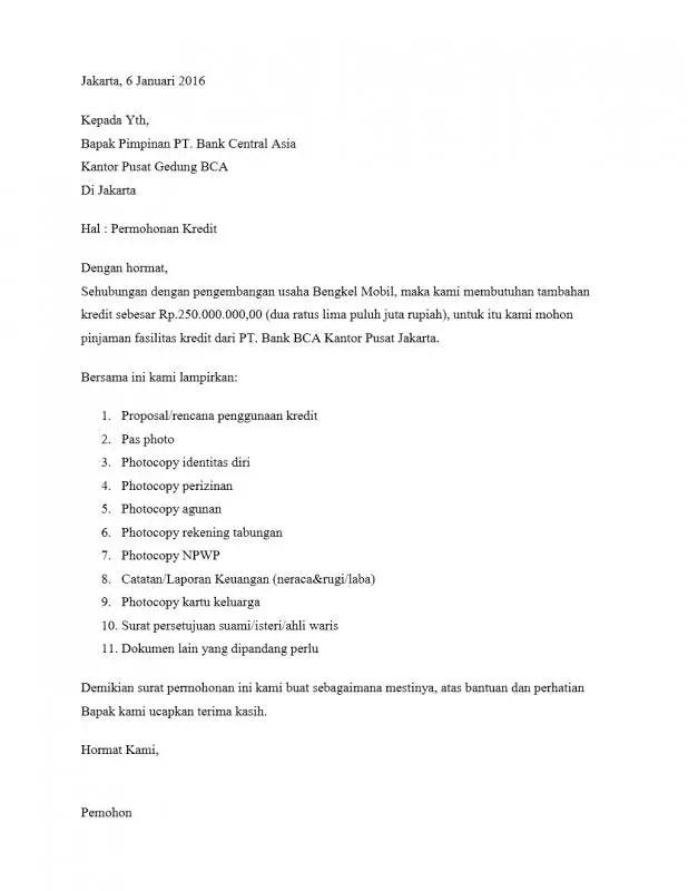 Contoh Surat Permohonan Kredit
