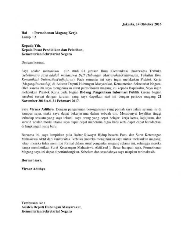 Contoh Surat Permohonan Magang Dari Kampus