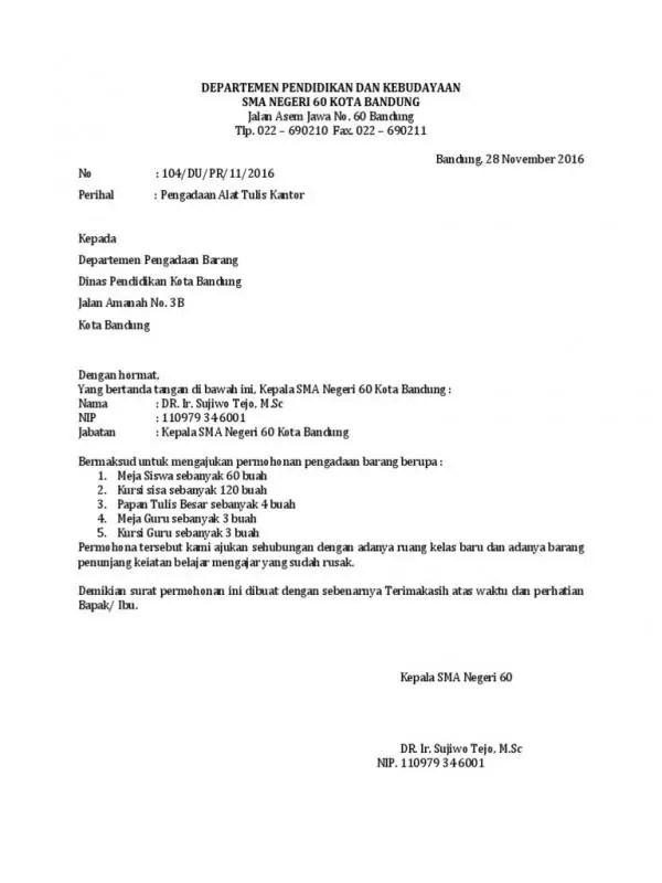 Contoh Surat Permohonan Pengadaan Barang Kantor Perusahaan