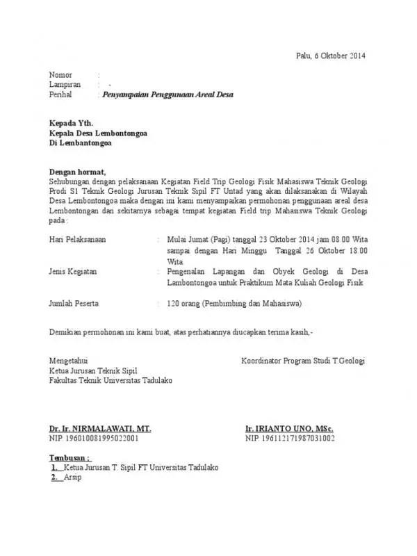 Contoh Surat Permohonan Penggunaan Tempat