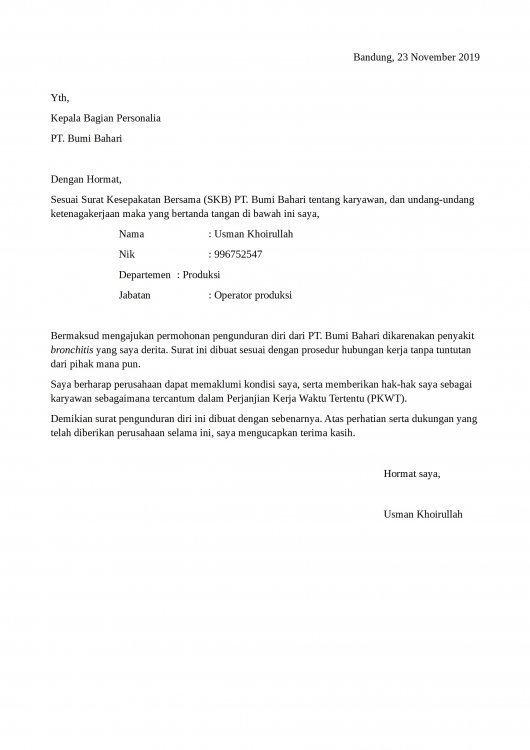 Contoh Surat Permohonan Pensiun Karena Sakit
