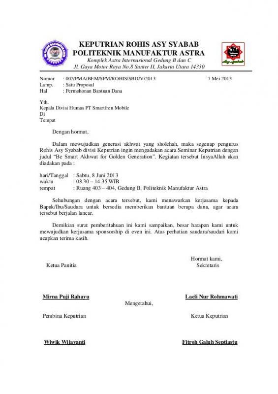 Contoh Surat Permohonan Sponsor Acara Seminar