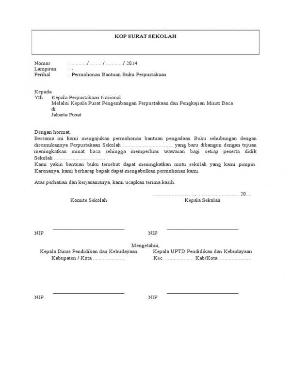 Contoh Surat Resmi Sekolah Permohonan Sumbangan
