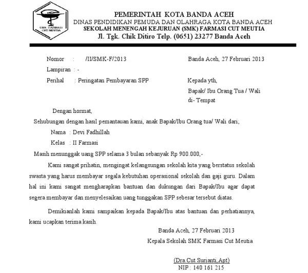 Contoh Surat Resmi Sekolah Untuk Pemberitahuan Pembayaran