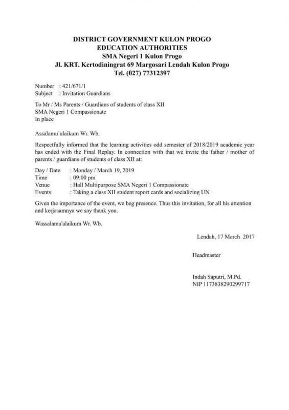 Contoh Surat Resmi Undangan Dalam Bahasa Inggris