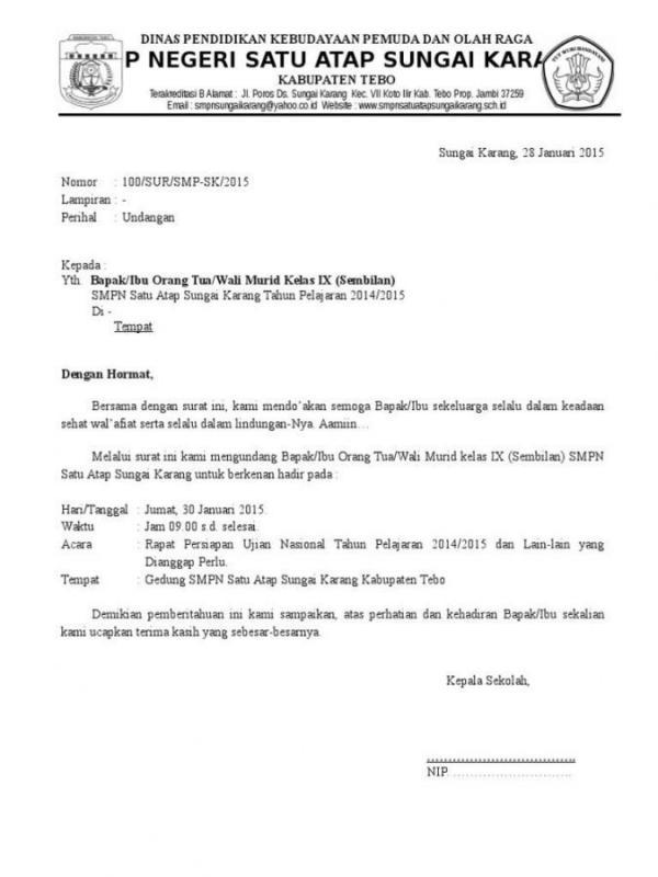 Contoh Surat Setengah Resmi Undangan Perpisahan Kelulusan Untuk Wali Murid
