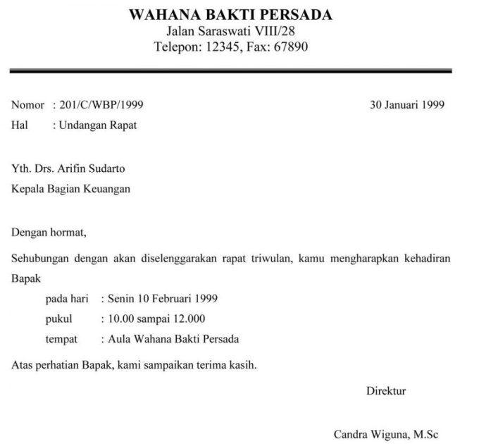 Contoh Surat Undangan Perusahaan
