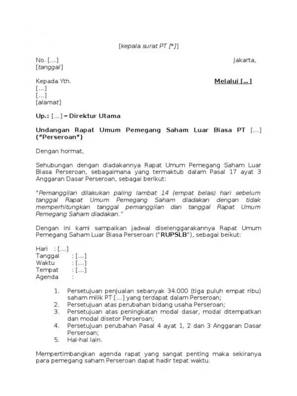 Contoh Surat Undangan Resmi Rapat Umum Pemegang Saham