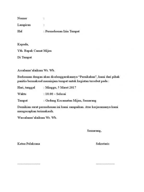 Surat Peminjaman Gedung Untuk Pernikahan