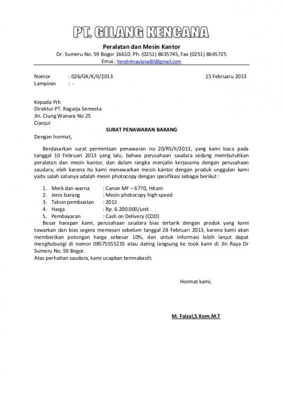 Surat Penawaran Barang Ke Perusahaan Berupa Mesin Mesin Kantor