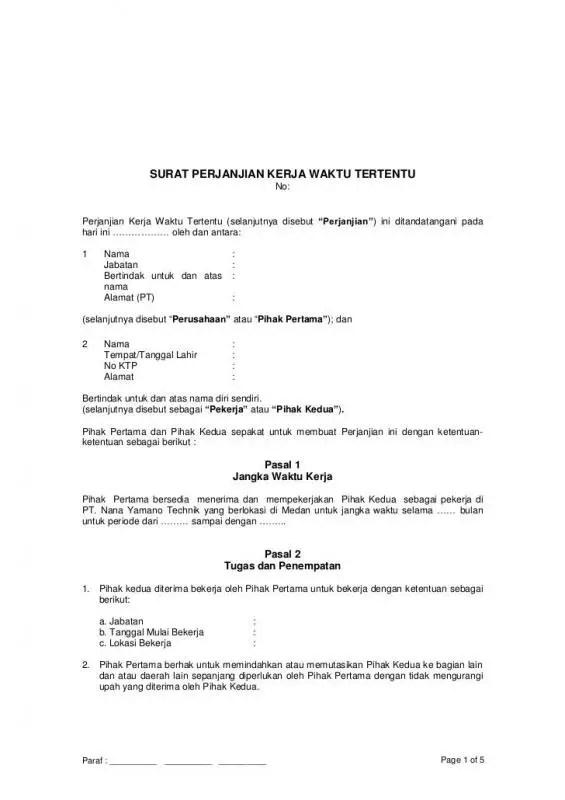 Surat Perjanjian Kerja Waktu Tertentu