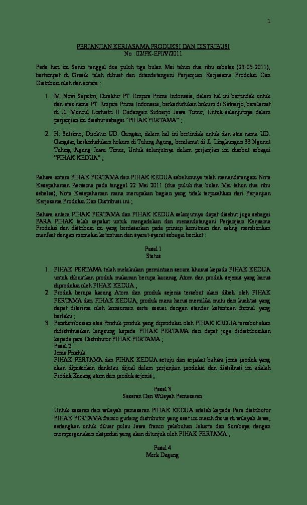 Surat Perjanjian Kerjasama Distributor