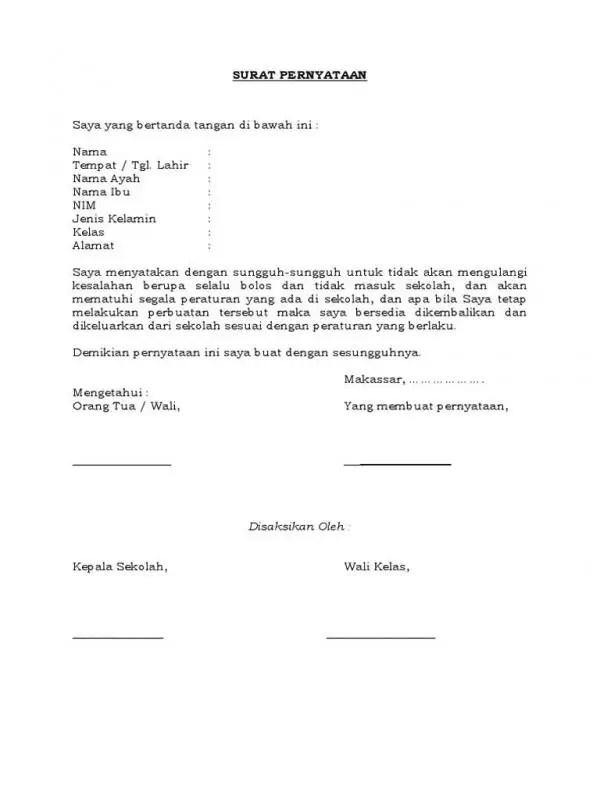 Surat Perjanjian Suami Istri Tidak Mengulangi Kesalahan