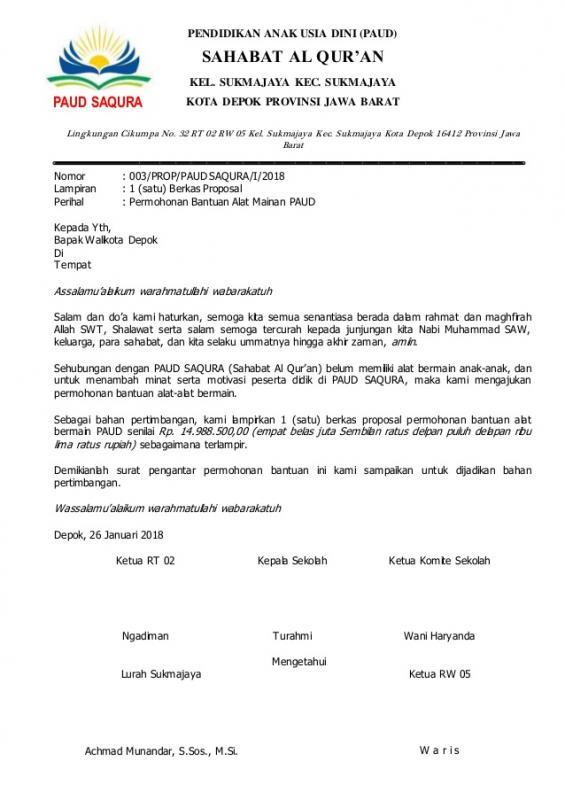 Surat Permohonan Bantuan Peralatan Sekolah