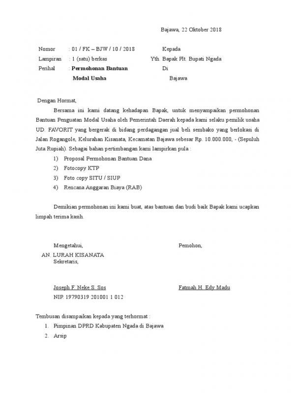 Surat Permohonan Bantuan UMKM