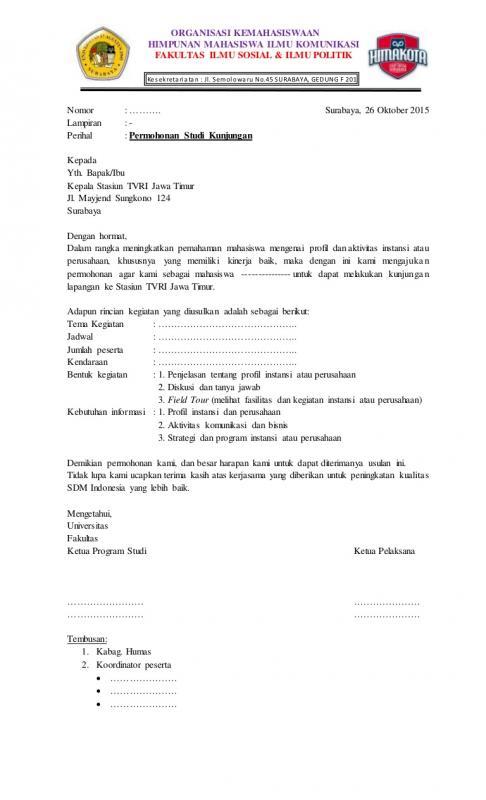 Surat Permohonan Kunjungan Kerja Ke Perusahaan Terkait