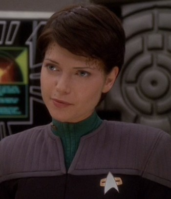 Ezri Dax - The host of Dax after Jadzia died, she's young and nerdy and, like all Trills, pansexual.