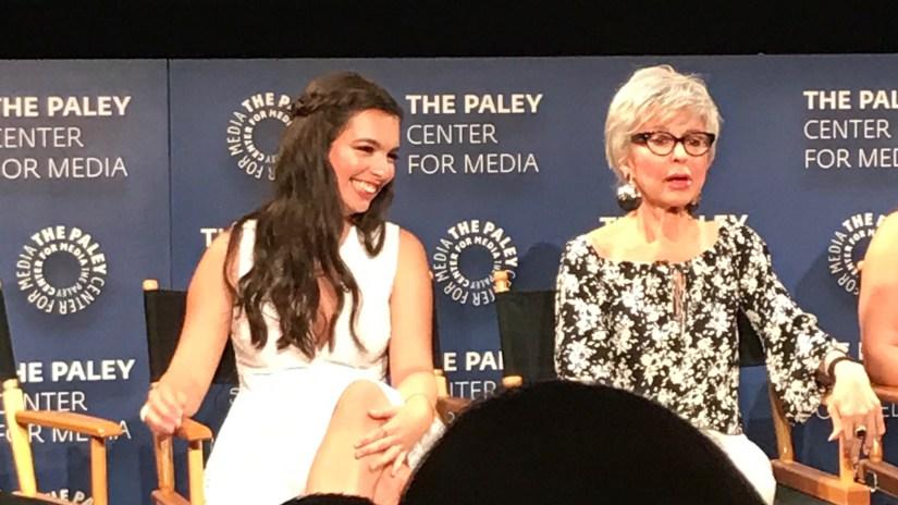 Isabella laughing at Rita's jokes about being old
