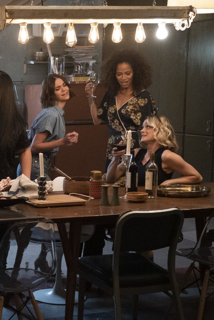 """GOOD TROUBLE - """"Parental Guidance Suggested"""" - Callie and Mariana's moms visit their new digs, but even with all the Coterie residents on their best behavior things get out of hand. Meanwhile, Dennis reveals a shocking truth about his past. This episode of """"Good Trouble"""" airs Tuesday, Feb. 5 (8:00 - 9:01 P.M. EST) on Freeform. (Freeform/Eric McCandless) MAIA MITCHELL, SHERRI SAUM, TERI POLO"""