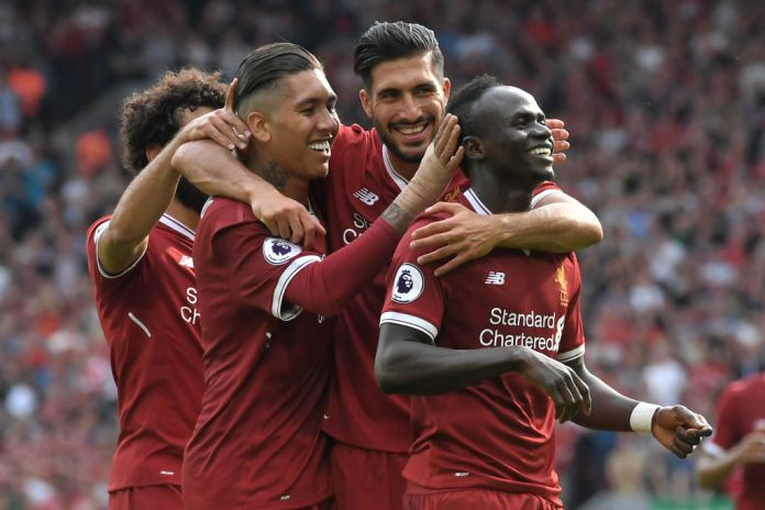 7f5a469e0 Emre Can and Sadio Mane celebrate during Liverpool s 4-0 win over Arsenal  earlier in the ...