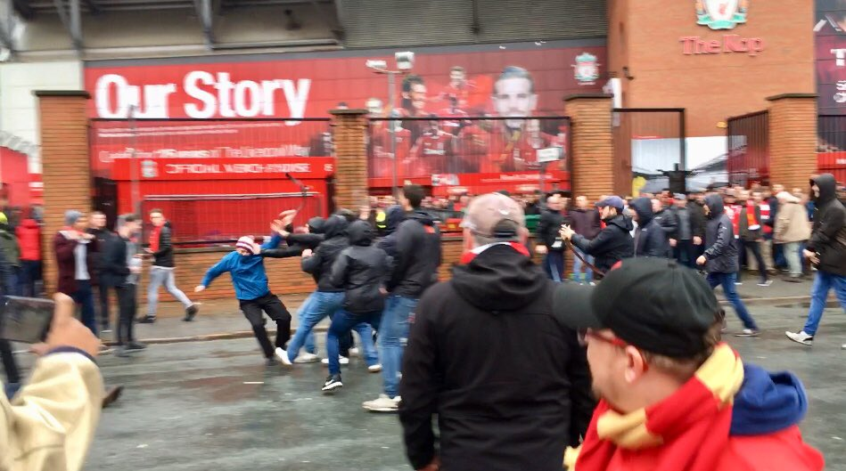 Liverpool fan stabbed after Roma fans attack supporters outside Anfield