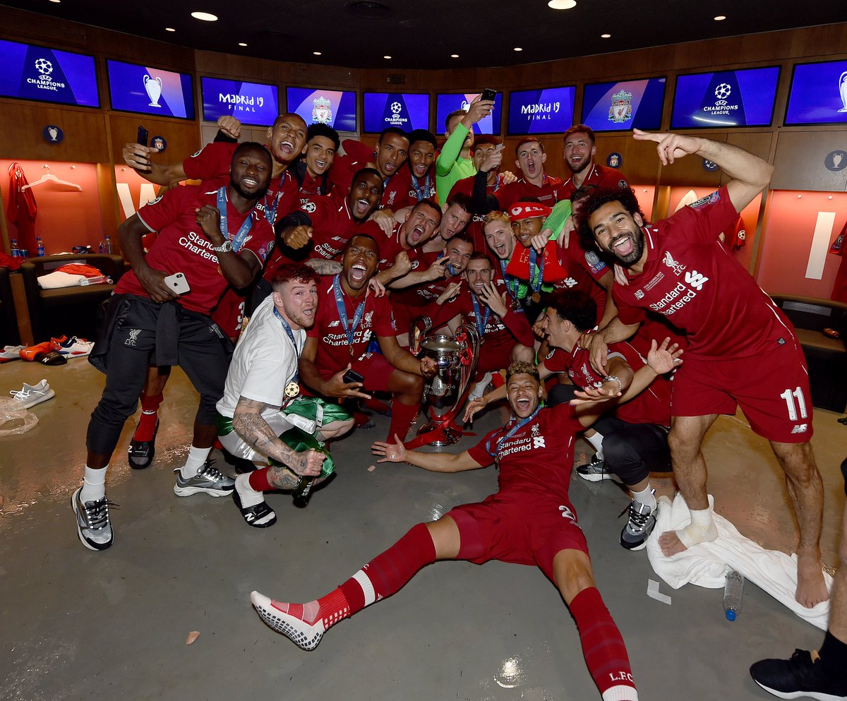 Brilliant scenes in the dressing room as Reds celebrate European glory in Madrid