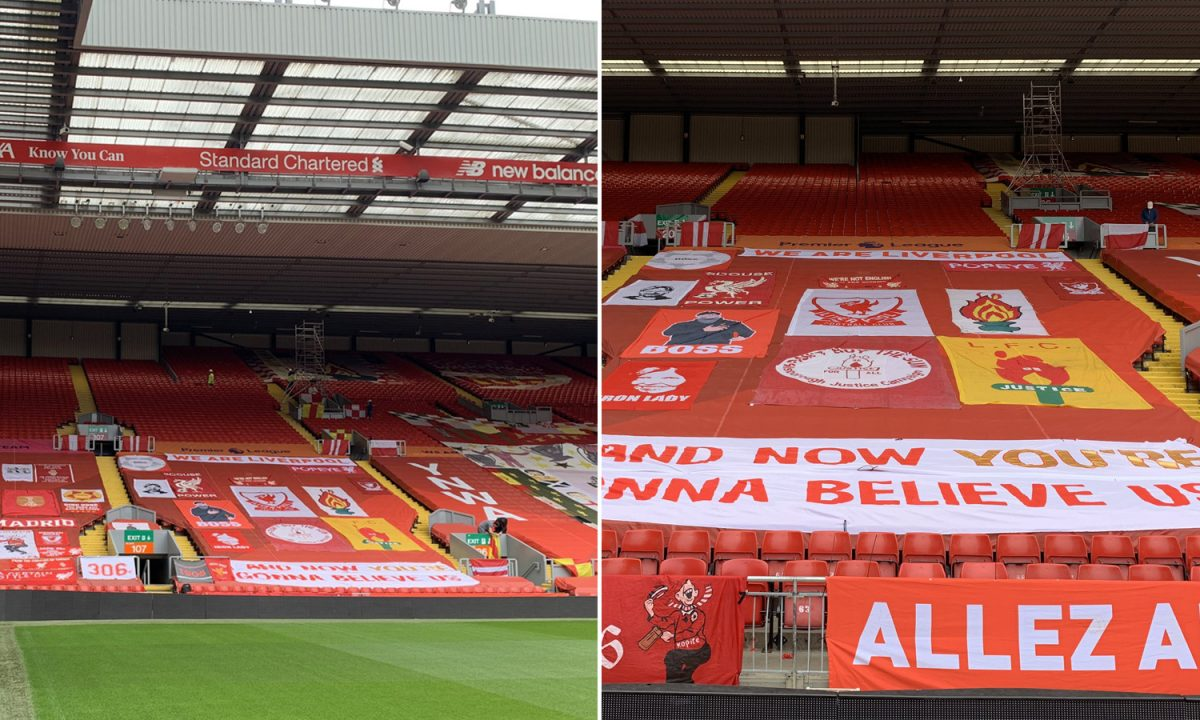 Anfield adorned with flags and banners ahead of Liverpool's clash against Crystal Palace