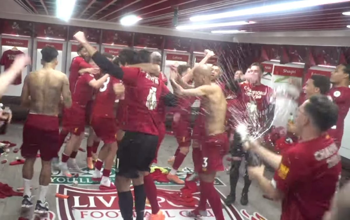 Watch: Liverpool's dressing room celebrations following Premier League triumph