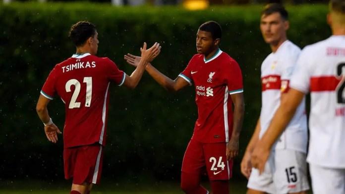 Kostas Tsimikas, Rhian Brewster - Liverpool vs Stuttgart