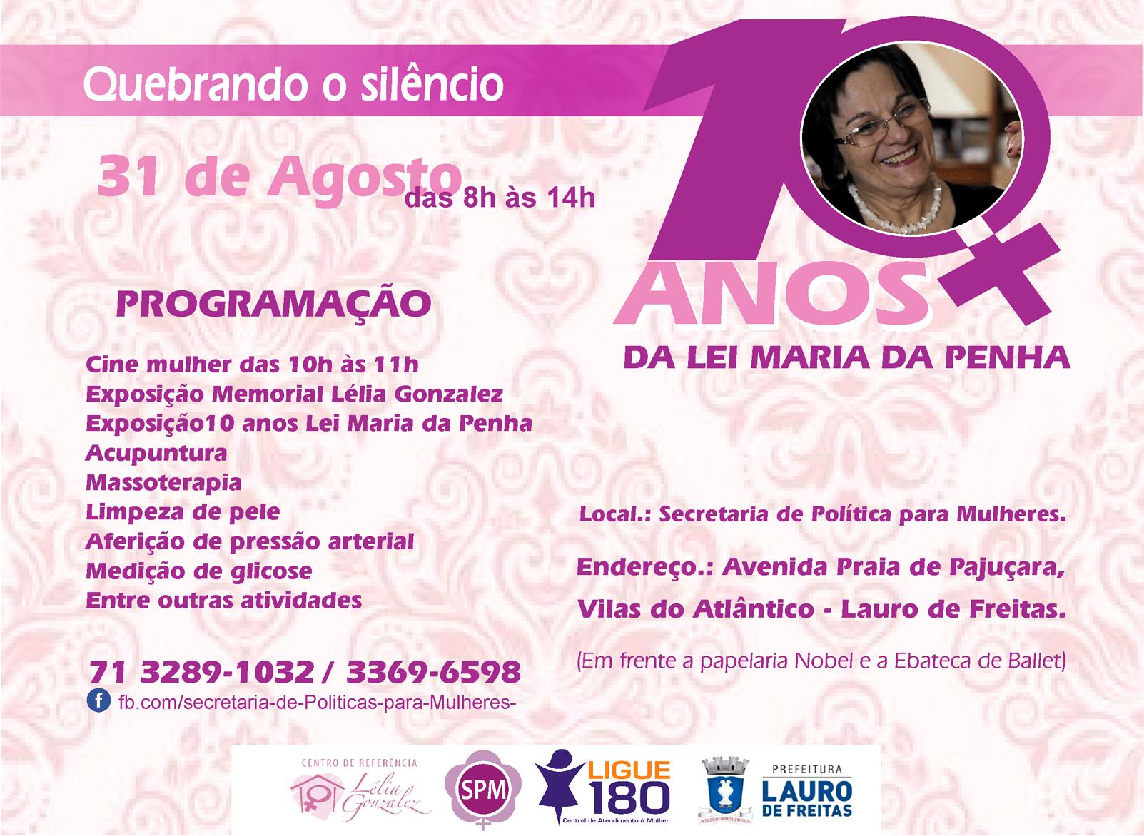Lauro de Freitas comemora dez anos de Lei Maria da Penha