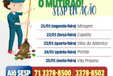 Segundo mutirão do ano reforça limpeza no bairro Miragem em Lauro de Freitas