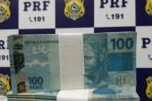 PRF apreende mala com R$ 230 mil em notas falsas; dinheiro seria usado no Carnaval de Salvador