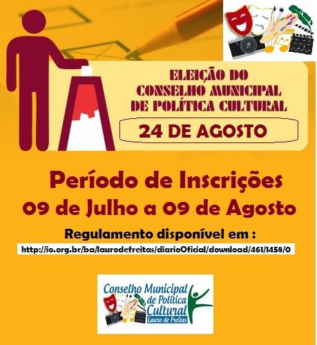 Conselho Municipal de Política Cultural de Lauro de Freitas convoca eleições para o biênio 2019/2021