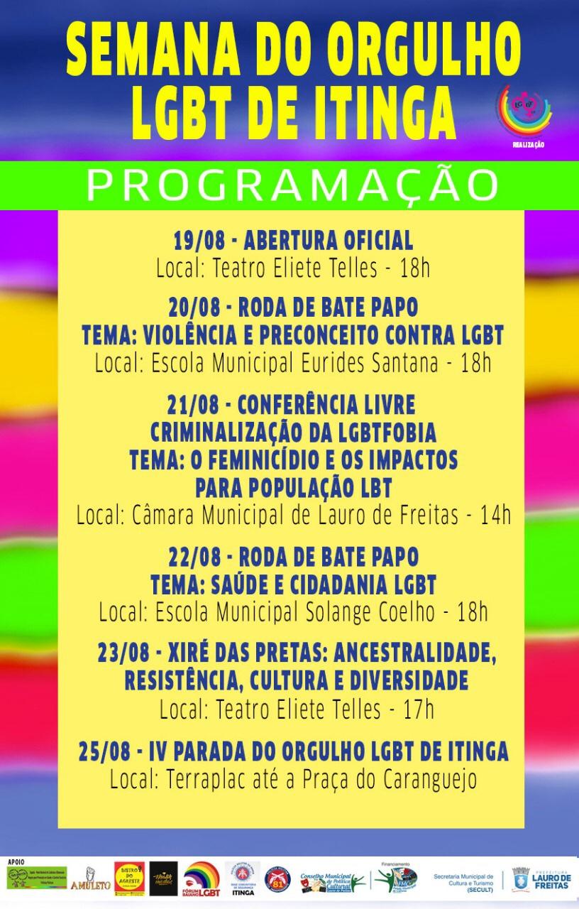 IV Semana do orgulho LGBT de Itinga tem rodas de conversa, conferência livre e parada cultural