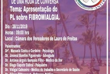 Roda de conversa sobre Fibromialgia, acontece nesta quinta, (28), às 9h, na Câmara de Lauro de Freitas