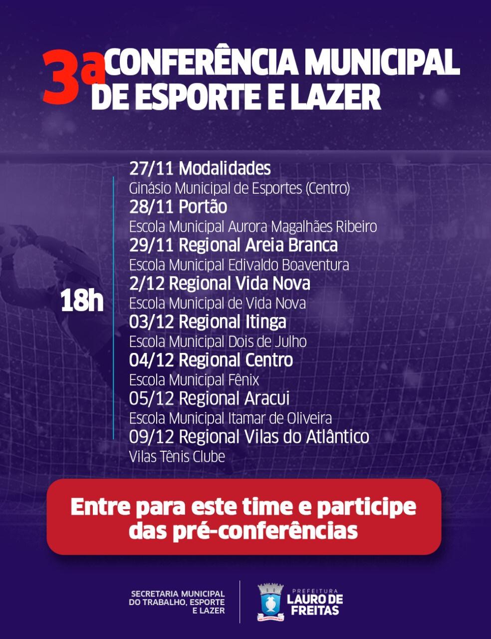 Prefeitura de Lauro de Freitas realiza 3ª Conferência Municipal de Esporte e Lazer
