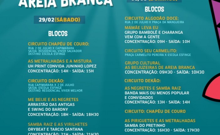 Lauro de Freitas comemora sucesso do Carnaval com desfile de blocos em Areia Branca neste final de semana