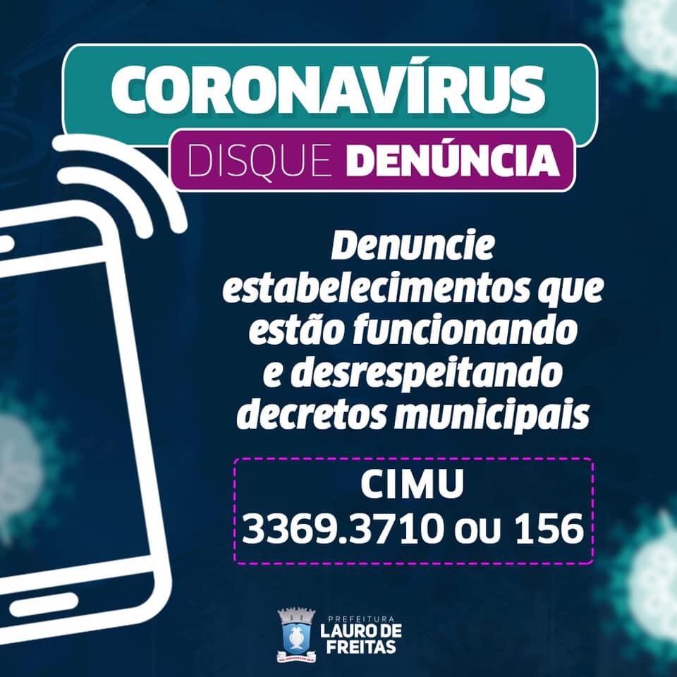 #SeLigue: Se você ver estabelecimentos comerciais desrespeitando decretos municipais e funcionando normalmente em Lauro de Freitas, denuncie!