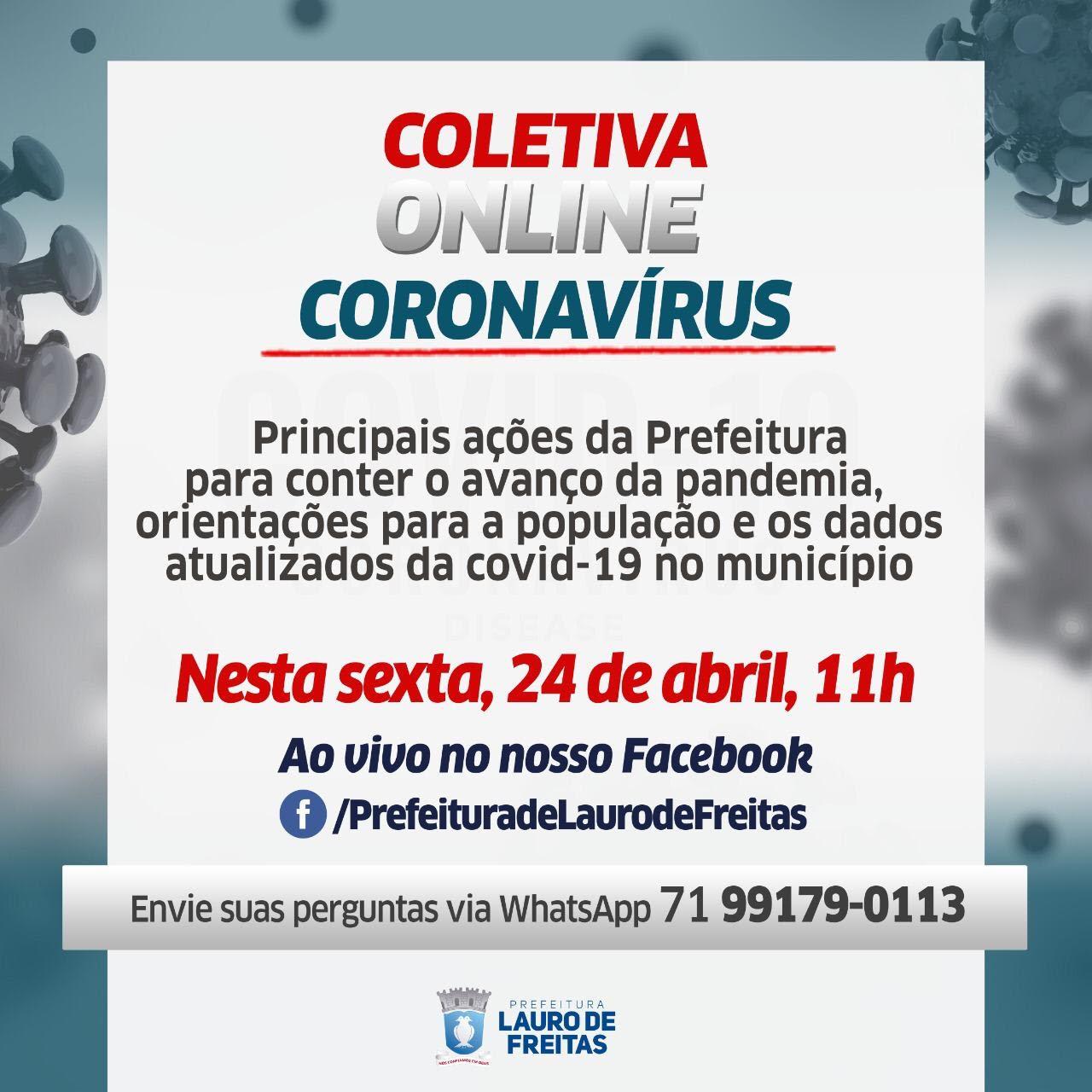 Coronavírus: Prefeitura de Lauro de Freitas realiza coletiva online, nesta sexta, às 11