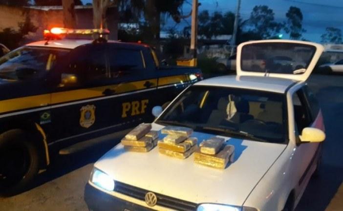 PRF prende homem com mais de 18 Kg de maconha escondidos em veículo