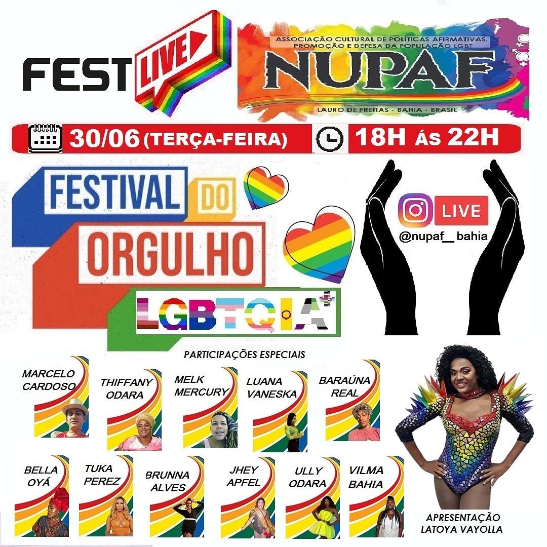 Live em alusão ao Dia do Orgulho LGBTQIA+ será realizada pela NUPAF nessa terça-feira (30)