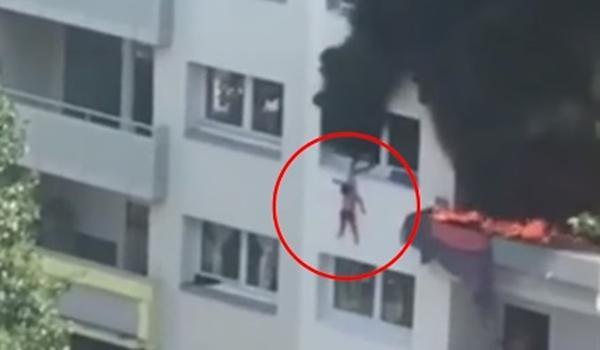 Impressionante: duas crianças saltam de prédio com mais de 10 metros para escapar de incêndio; assista
