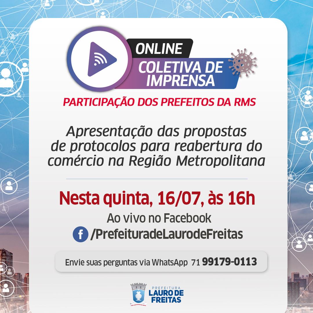 Prefeitos e Prefeitas da RMS se reúnem nesta quinta-feira (16), em Lauro de Freitas, para apresentar propostas de reabertura do comércio