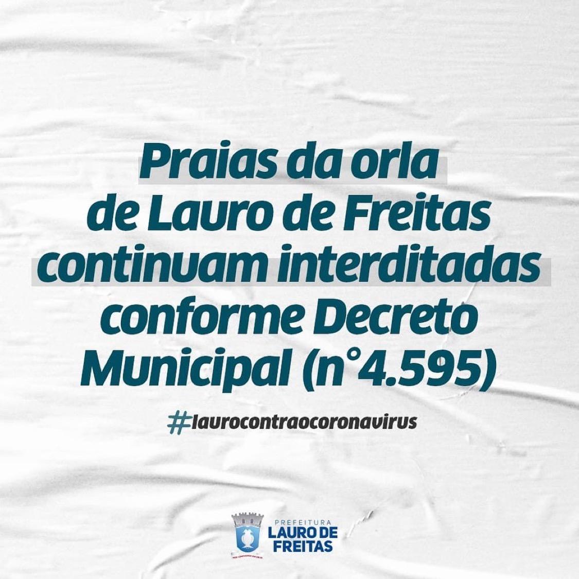 Praias da orla de Lauro de Freitas continuam interditadas