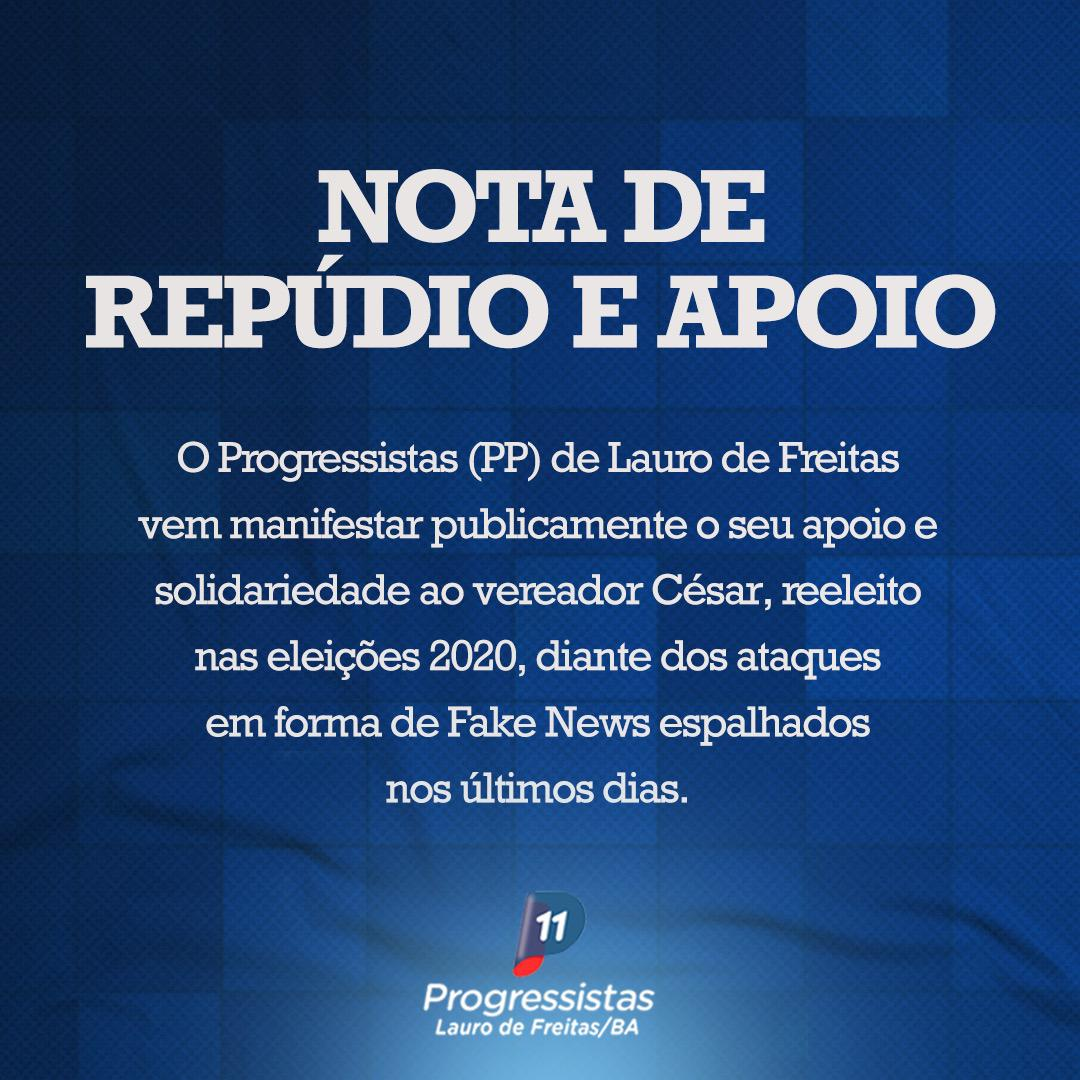 PP de Lauro de Freitas emite Nota de Repúdio contra as FakeNews sofridas pelo vereador César