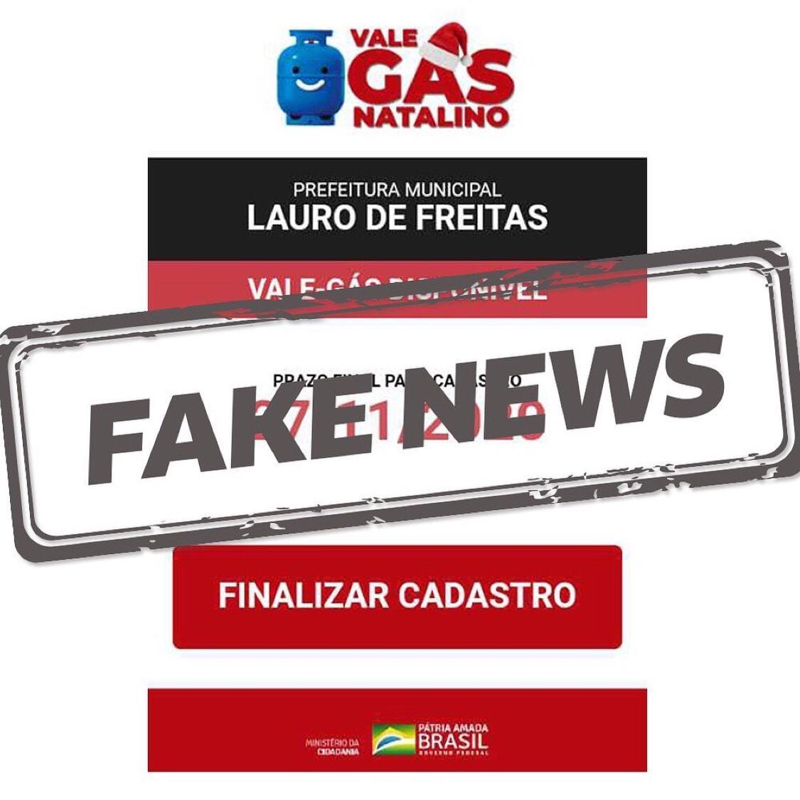 "Prefeitura de Lauro de Freitas alerta sobre FakeNews de suposto ""Programa Vale-Gás Natalino 2020"""