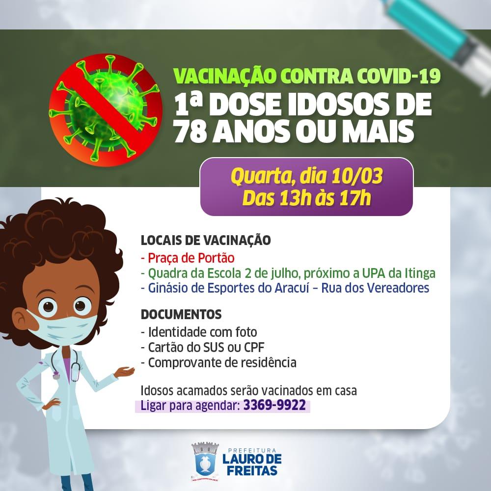 Com a chegada de novas doses, Lauro de Freitas retoma vacinação de idosos com 78 anos ou mais nesta quarta-feira (10)