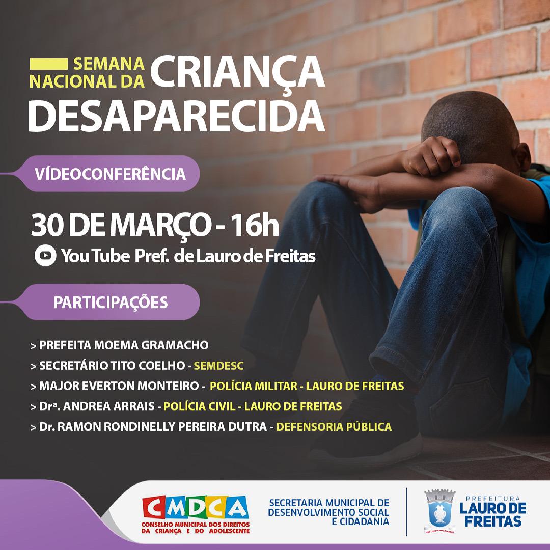 Prefeitura realiza videoconferência sobre a Semana da Mobilização Nacional para a Busca e Defesa da Criança Desaparecida