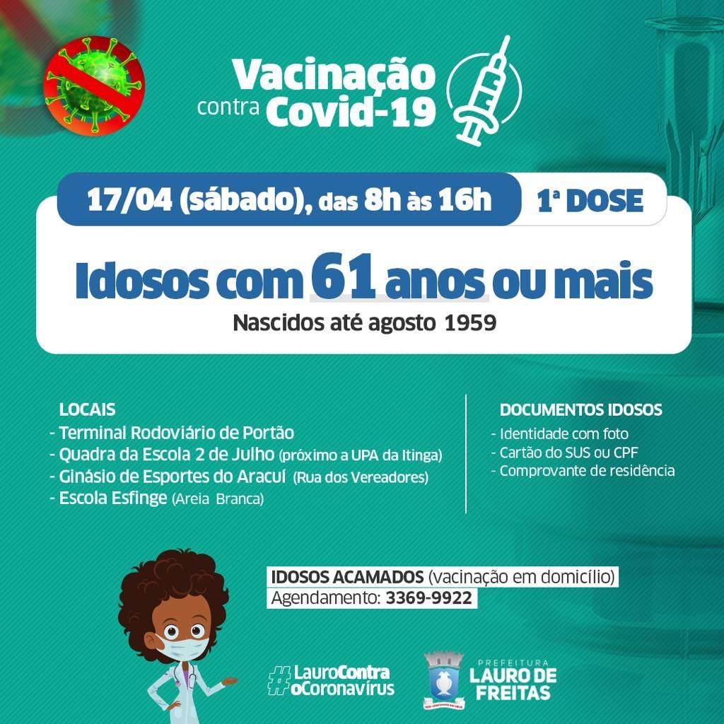 Idosos de 61 e 60 anos serão vacinados contra Covid-19 em Lauro de Freitas neste fim de semana