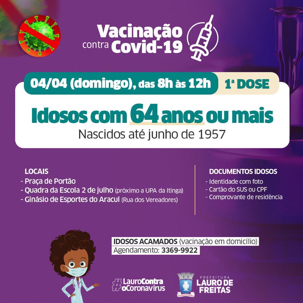 Lauro de Freitas amplia vacinação para idosos de 64 anos ou mais neste domingo (4), nascidos até junho de 1957